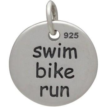 Sterling Silver Triathlon Word Charm - Sports Charms 15x12mm
