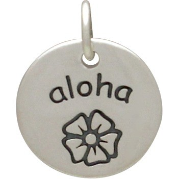 Sterling Silver Word Charm - Aloha  - Round 15x12mm