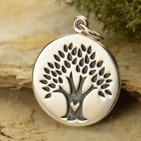 Sterling Silver Family Tree Charm on Round Charm