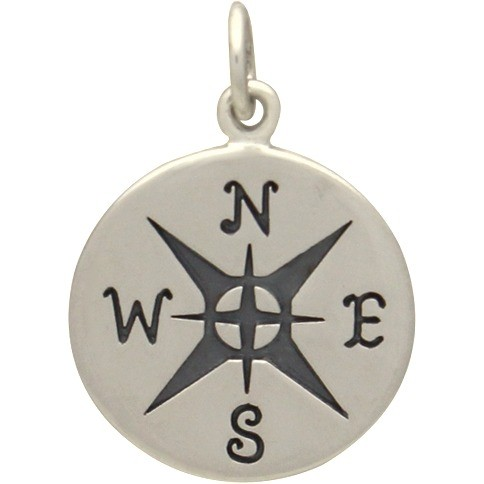 Sterling Silver Compass Charm -21mm