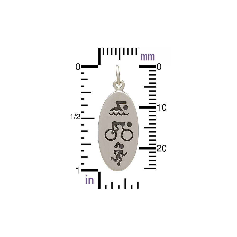 Sterling Silver Triathlon Charm Symbols 26x10mm