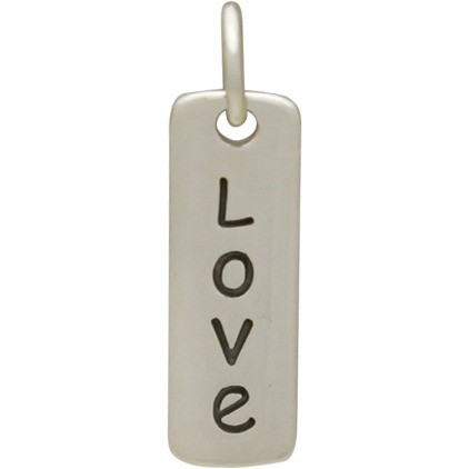 Sterling Silver Word Charm - Love - Vertical
