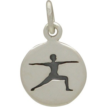 Sterling Silver Yoga Charm - Warrior Pose 16x10mm