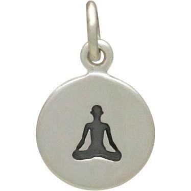 Sterling Silver Yoga Charm  - Sitting Pose 16x10mm