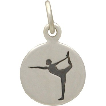 Sterling Silver Yoga Charm - Dancer Pose 16x10mm