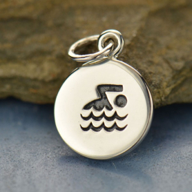 Sterling Silver Swimmer Charm - Sports Charms 16x10mm