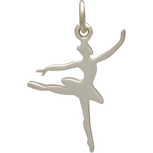 Sterling Silver Flat Ballerina Charm 23x12mm
