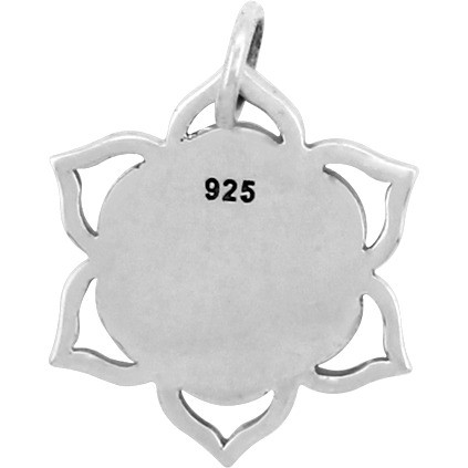 Sterling Silver Lotus Charm with Etched Seed of Life 19x16mm