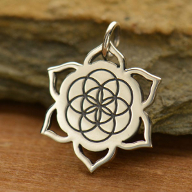 Sterling Silver Lotus Charm with Etched Seed of Life