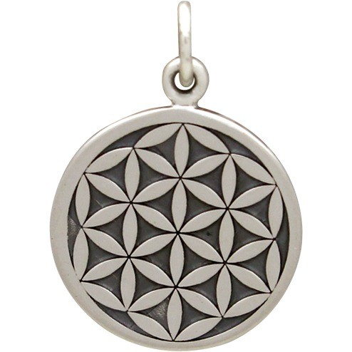 Sterling Silver Flower of Life Charm Sacred Geometry 22x15mm
