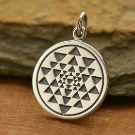 Sterling Silver Sri Yantra Charm - Sacred Geometry