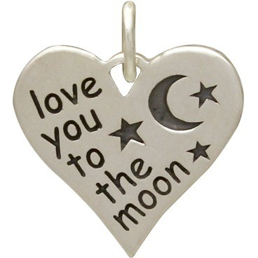 Silver Word Charm- Heart Shape- Love You to the Moon 16x14mm