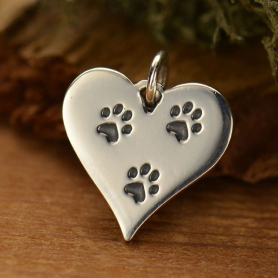 Sterling Silver Heart Charm with Etched Pawprints