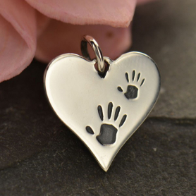 Sterling Silver Heart Charm with Etched Handprints