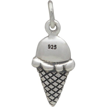 Sterling Silver Ice Cream Cone Charm - Food Charm