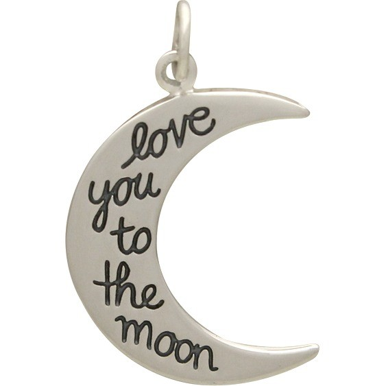 Silver Word Charm - Moon Shape -  Love You to the 26x16mm