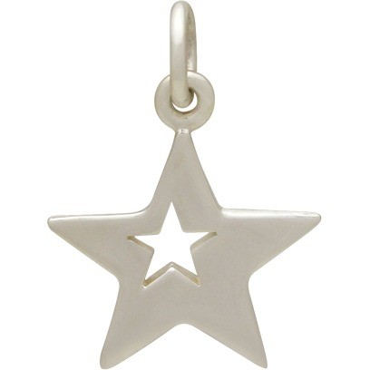 Sterling Silver Star Charm with One Star Cutout