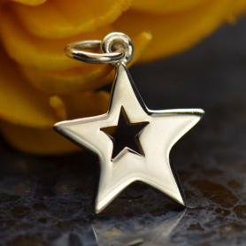 Sterling Silver Star Charm with One Star Cutout 18x12mm