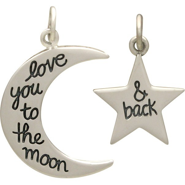 Sterling Silver Word Charm - Set - Love You to the Moon