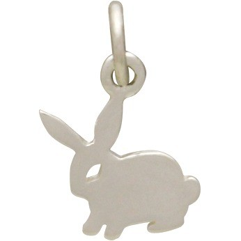 Sterling Silver Bunny Charm - Animal Charms - Flat 15x11mm