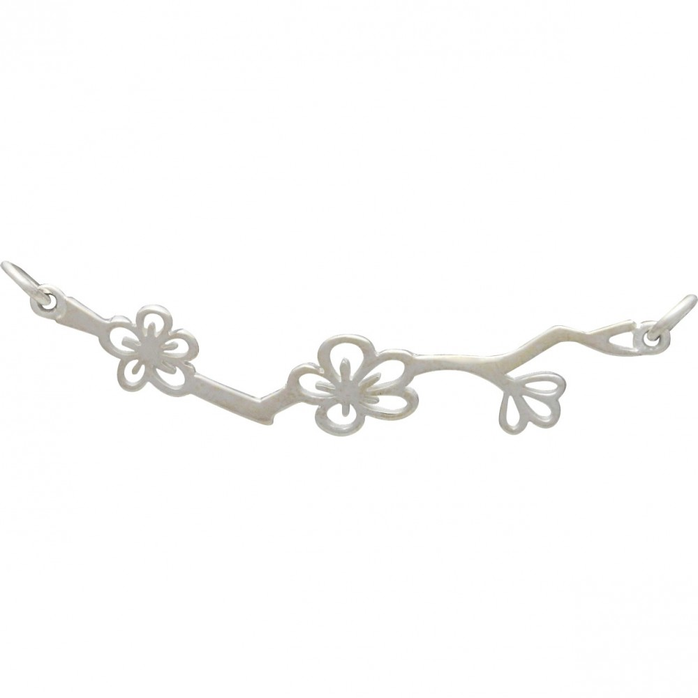 Sterling Silver Cherry Blossom Branch Pendant Festoon17x48mm
