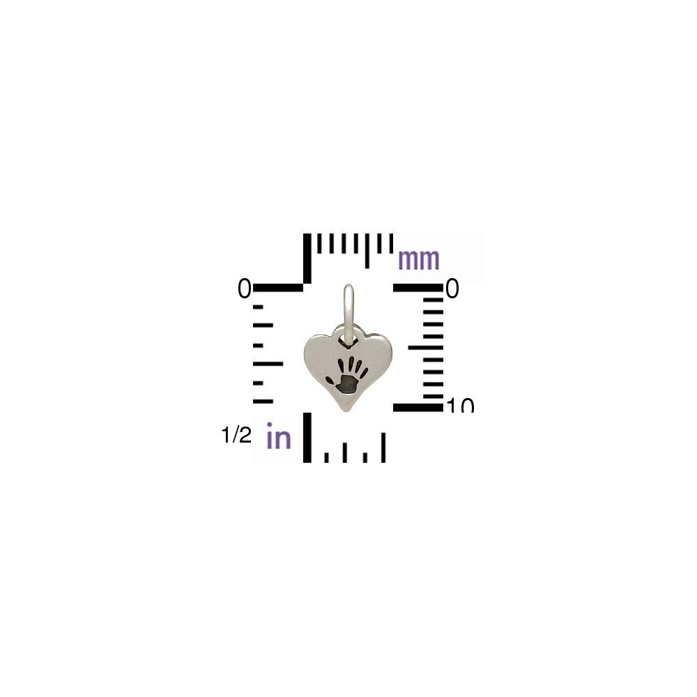 Tiny Sterling Silver Hand Print Charm - Heart Shape 11x7mm