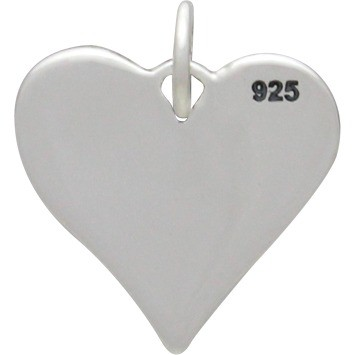 Silver Heart Charm with Three Etched Hand Prints 16x14mm