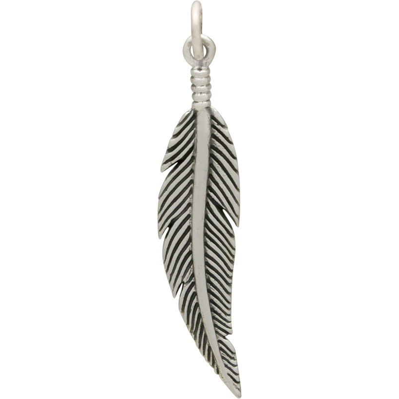 Sterling Silver Feather Charm  -Textured 36x7mm