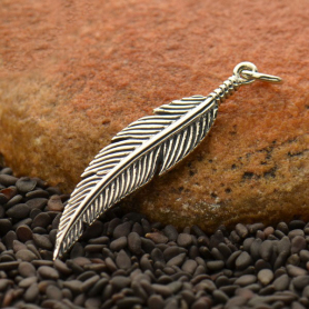 Sterling Silver Feather Charm -Textured