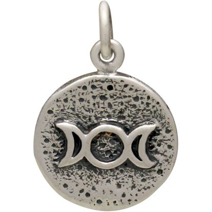 Sterling Silver Amulet Charm - Triple Goddess 18x12mm