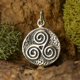 Sterling Silver Amulet Charm - Triple Spiral 18x12mm