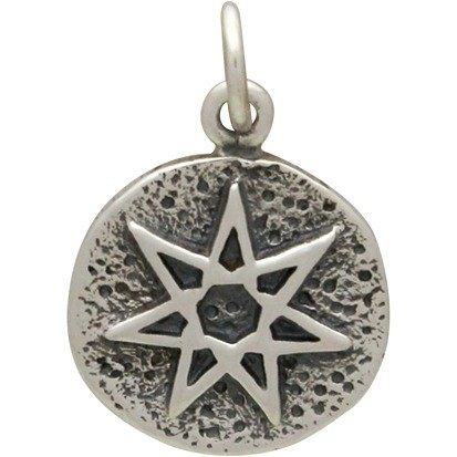 Sterling Silver Amulet Charm - Fairy Star 18x12mm