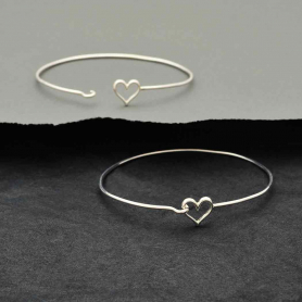 Sterling Silver Charm Bracelet - Heart Hook and Eye Closure