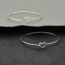 Sterling Silver Charm Bracelet - Heart Hook and Eye Closure