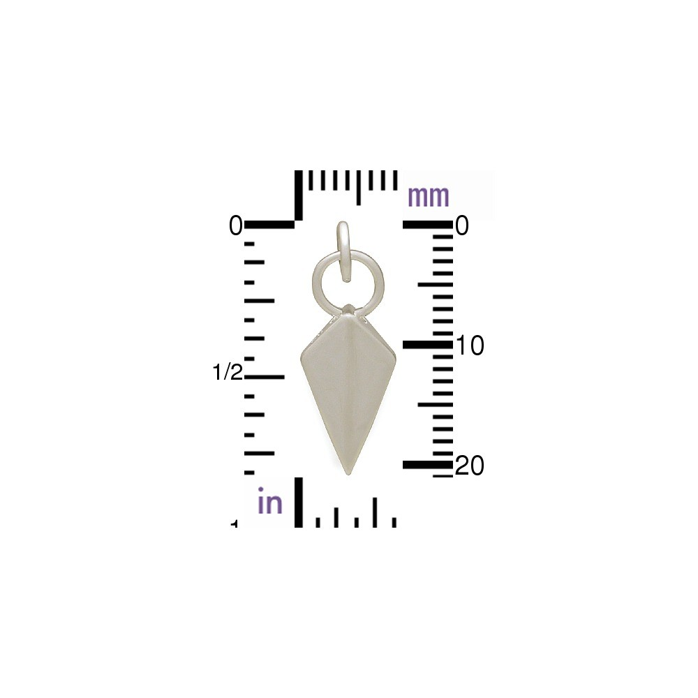 Sterling Silver Spike Charm - Shield Shape 22x8mm