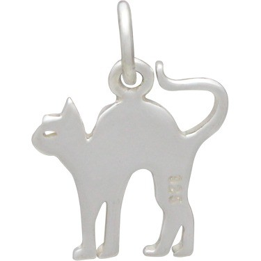 Sterling Silver Scaredy Cat Charm - Flat 16x12mm