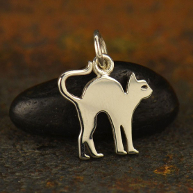 Sterling Silver Scaredy Cat Charm - Halloween Charm - Flat