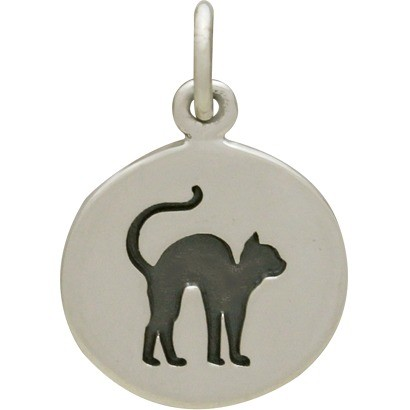 Sterling Silver Halloween Cat Charm 18x12mm