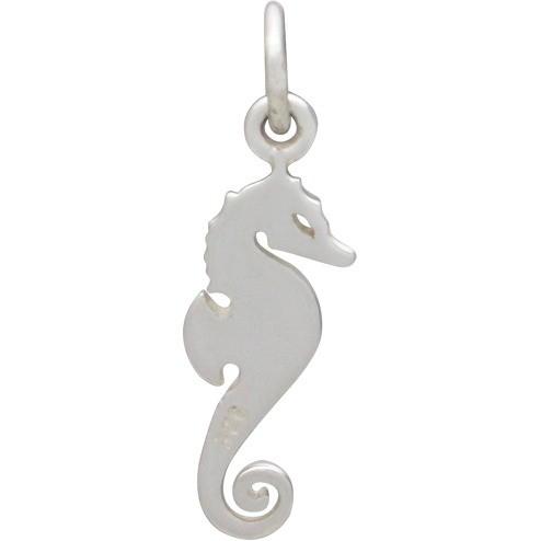 Sterling Silver Seahorse Charm - Beach Charm  - Flat 21x6mm