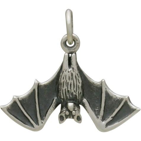 Sterling Silver Bat Charm - Halloween Charm - Realistic