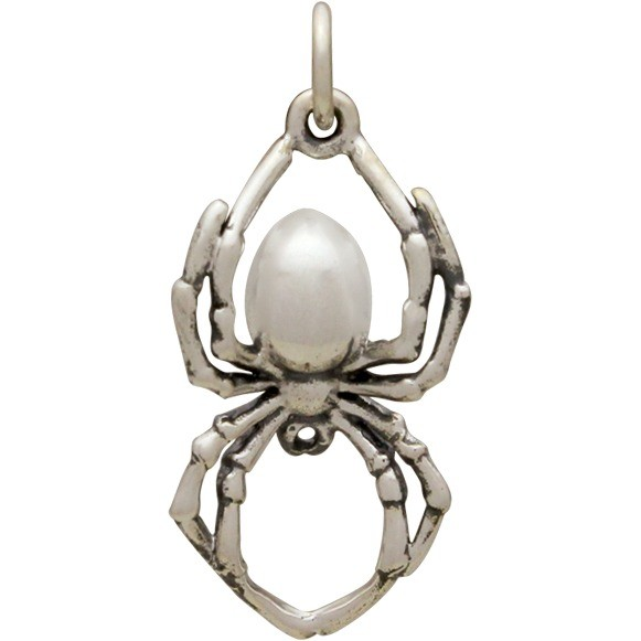 Sterling Silver Realistic Spider Charm 24x12mm