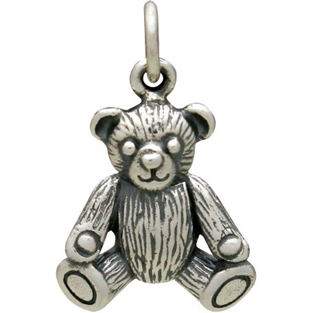 Sterling Silver 3D Teddy Bear Charm 19x12mm