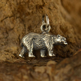 Sterling Silver Bear Charm - Animal Charm - 3D