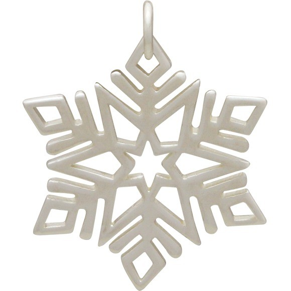 Sterling Silver Large Snowflake Charm 26x21mm
