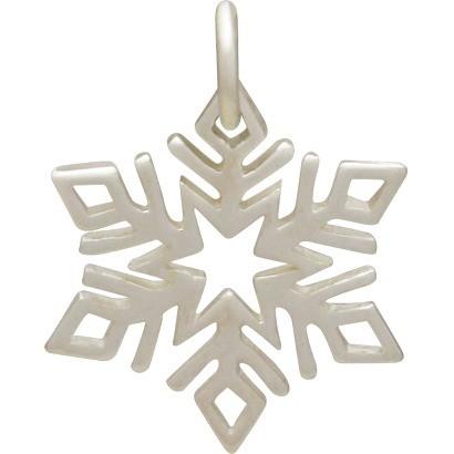 Sterling Silver Snowflake Charm - Christmas Charms - Small