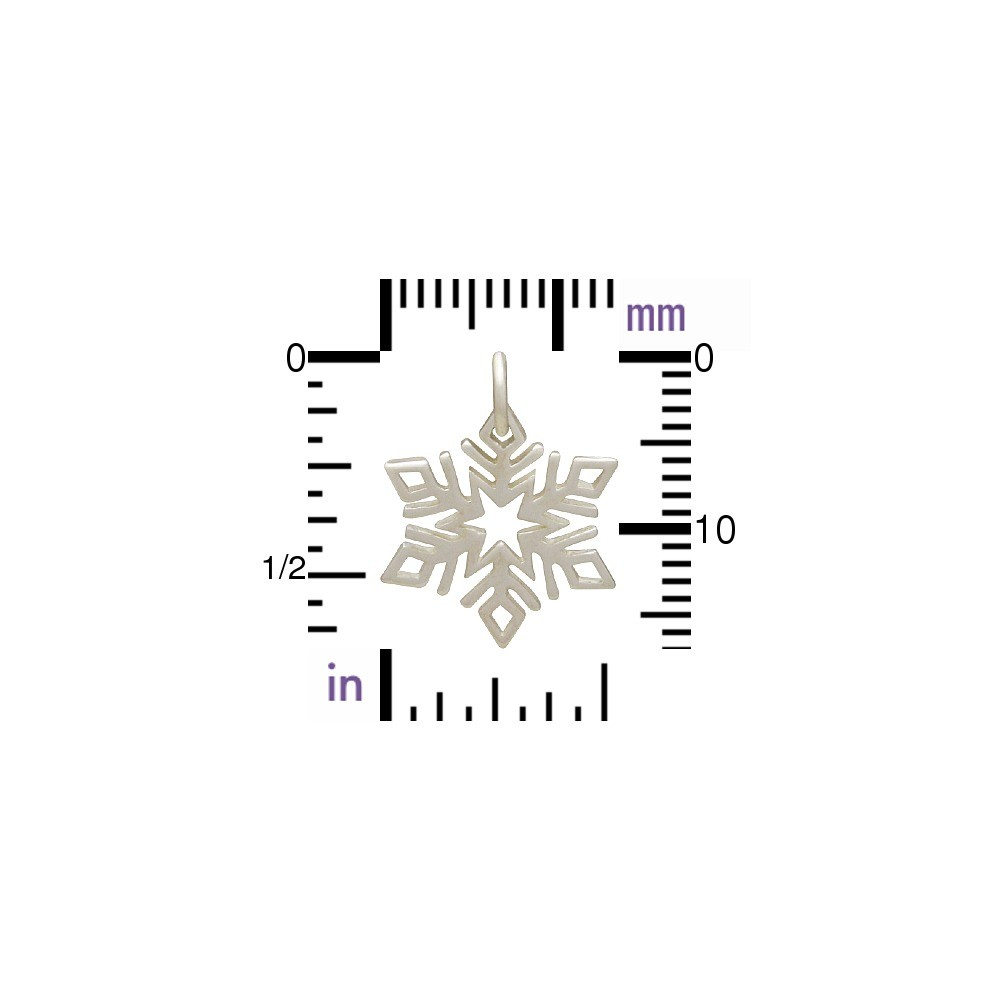 Sterling Silver Small Snowflake Charm 19x14mm
