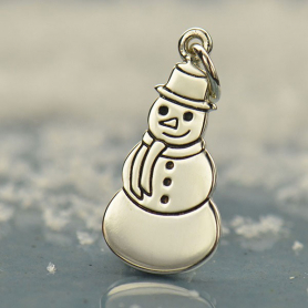 Sterling Silver Snowman Charm - Christmas Charms 23x9mm