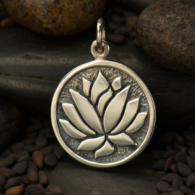 Sterling Silver Lotus Pendant Etched on Round Charm 21x15mm