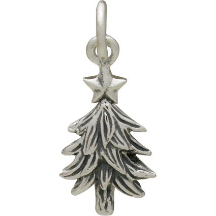 Sterling Silver Christmas Tree Charm - Textured 20x8mm