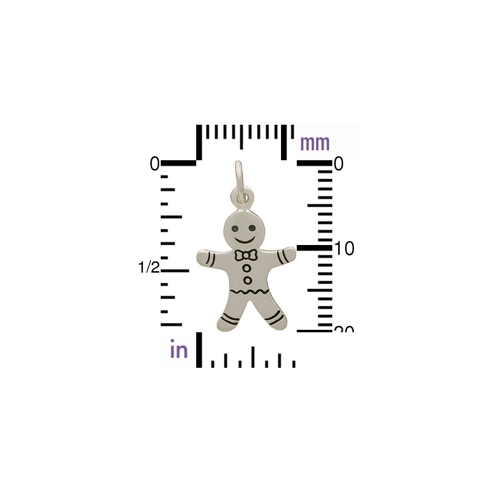 Sterling Silver Gingerbread Man Charm 21x12mm